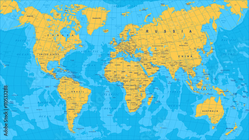 Yellow Blue World Map - borders, countries and cities - illustrationHighly detailed colored vector illustration of world map.