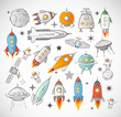 Постер, плакат: Collection of sketchy space objects isolated on white background Space ships rockets space shuttle planets flying saucers astronauts etc