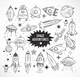 Collection of sketchy space objects isolated on white background.. Space ships, rockets, space shuttle, planets, flying saucers, astronauts etc. - 110533628