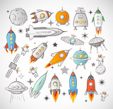 Collection of sketchy space objects isolated on white background.. Space ships, rockets, space shuttle, planets, flying saucers, astronauts etc. - 110533648