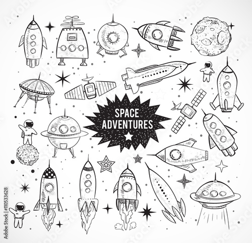 Fototapeta Collection of sketchy space objects isolated on white background.. Space ships, rockets, space shuttle, planets, flying saucers, astronauts etc.