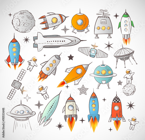 Collection of sketchy space objects isolated on white background.. Space ships, rockets, space shuttle, planets, flying saucers, astronauts etc.