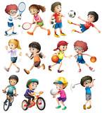 Fototapety Children doing different sports