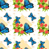 Seamless blue butterflies and roses