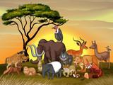 Wild animals in the savanna field