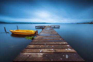 Small Dock and Boat at the lake © ValentinValkov