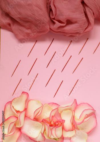 Zdjęcia na płótnie, fototapety, obrazy : Composition with pink roses, petals and flowers