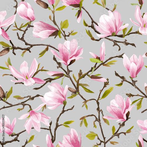 bez-szwu-kwiatowy-wzor-tlo-kwiaty-magnolii-i-lisci