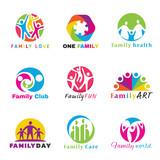 Family logo circle art vector set design