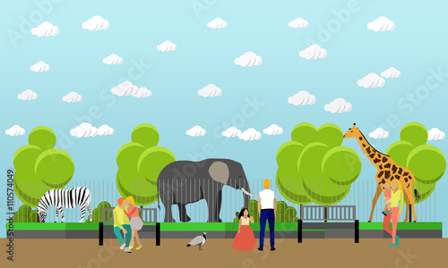 Plexiglas Zoo Zoo concept banner. People visiting zoopark with family and kids. Animals Vector illustration in flat style design.