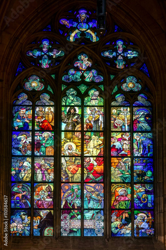 Poster Alphonse Mucha Stained glass window in St Vitus Cathedral in Prague