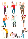 Drunk people vector illustration.