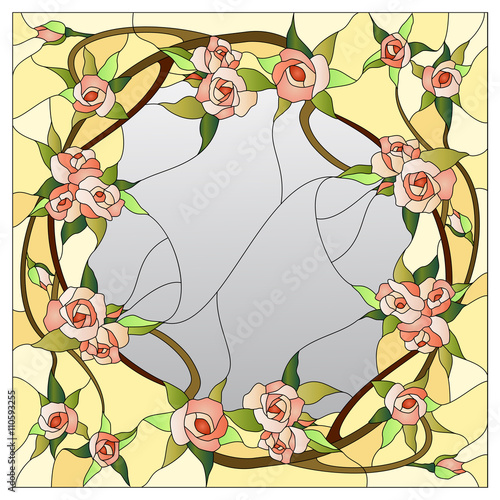 Naklejka floral stained glass pattern