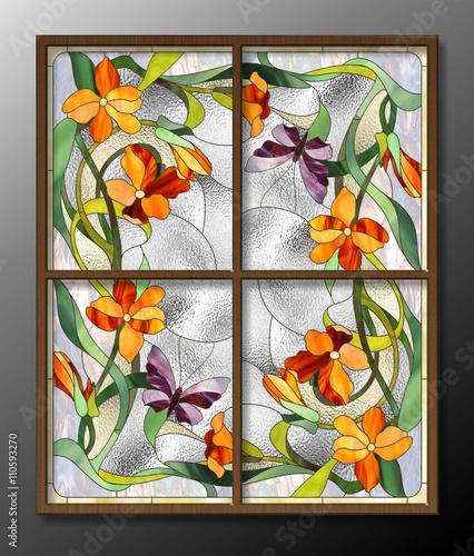 Naklejka stained glass pattern