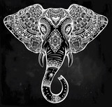 Tribal vector elephant with ornaments.