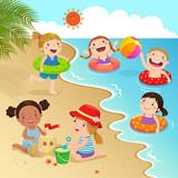 Fototapety Group of kids having fun on the beach