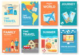 Tour of the world vector brochure set. Travel  icons. Travel posters. Travel booklet. Travel flyer. Flat Travel banners with typography. Travel invitation. Travel cards. Travel mock up. Travel guide