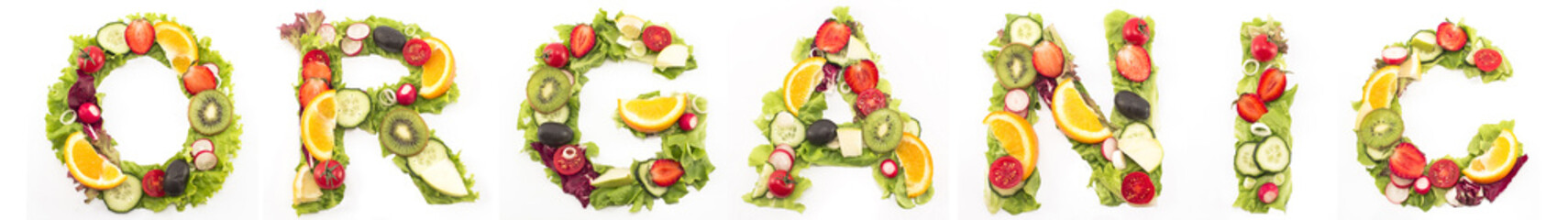 Word organic made of salad and fruits