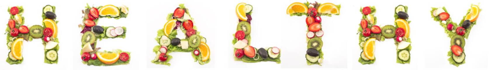 Word healthy made of salad and fruits