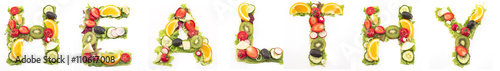 Keuken foto achterwand Verse groenten Word healthy made of salad and fruits