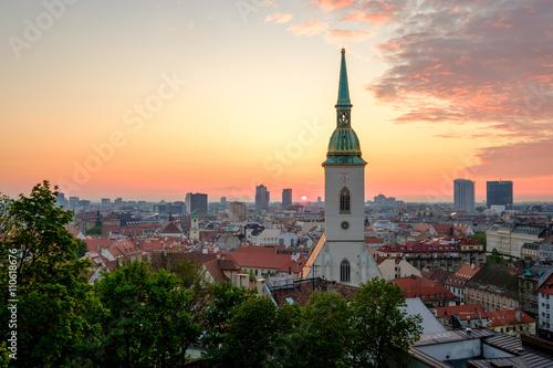 Plagát, Obraz Bratislava, Slovakia landscape at sunrise