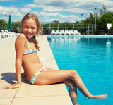 Happy child at pool