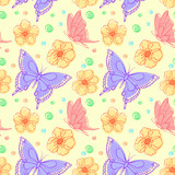 Vector seamless pattern with flowers and butterflies.