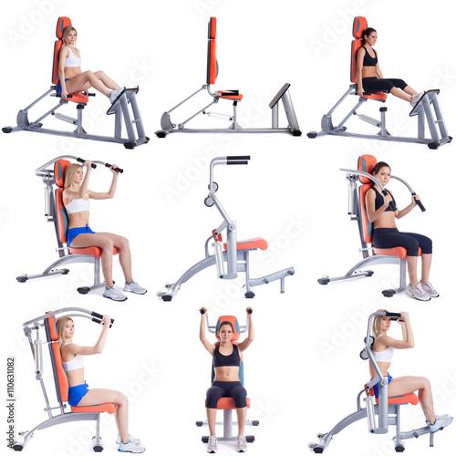 Sport. Set of cute girls exercising on simulators