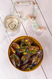 Mussels with white wine, top view
