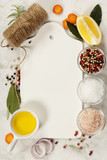 ingredients for cooking fish and seafood on marble background