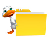 cute Duck cartoon character with folder
