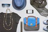 Fashion hipster clothes accessories set. Overhead  - Fine Art prints