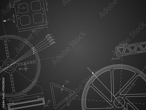 abstract blue print gear technology background