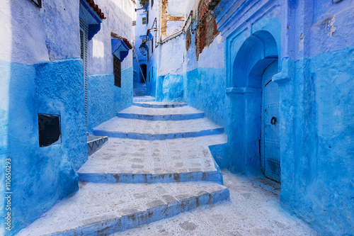Fotobehang Marokko View of a street in the town of Chefchaouen in Morocco