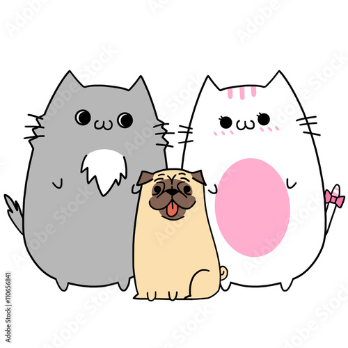 Creative Illustration and Innovative Art: Two Lover Cats' Happy Memories: Get a Pet Dog. Realistic Fantastic Cartoon Style Character Wallpaper Story Card Design - 110656841