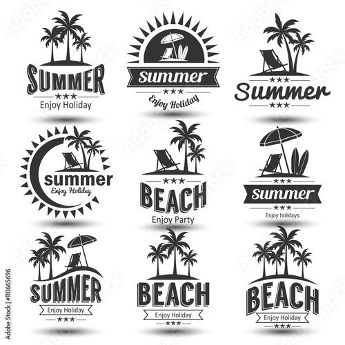 Summer emblem vector - 110665696