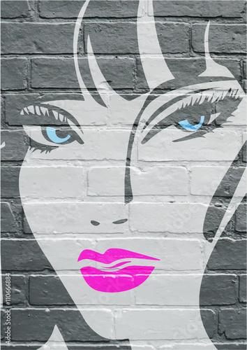 Art urbain, portrait d'une jeune femme Poster