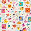 hearts birds flowers clouds seamless pattern with note book paper background