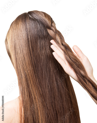 Barber girl braids  the long hair in  braid isolated. Poster