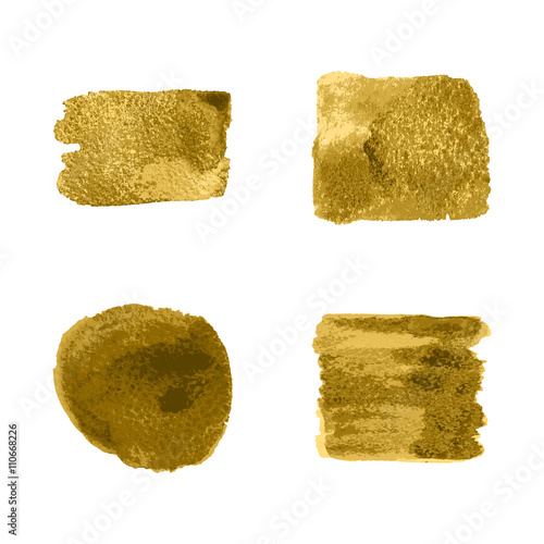Vector gold paint smear stroke stain set on white background. Abstract gold glittering textured art illustration.