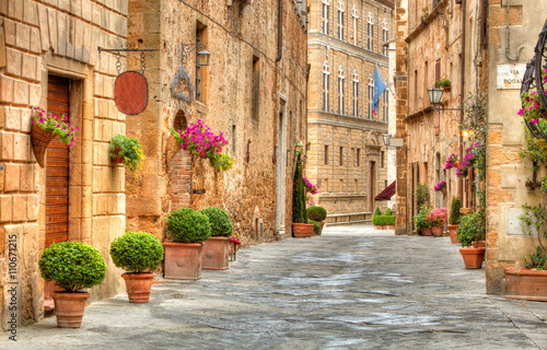 Fototapety, obrazy : Colorful street in Pienza, Tuscany, Italy