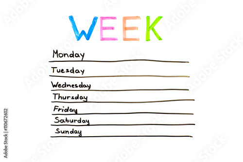 Seven days of the week writing in white board