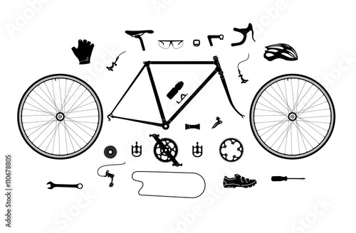 Deurstickers Fietsen Road bicycle parts and accessories silhouette set, elements for infographic, etc