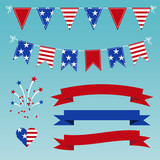 Vector Set of Patriotic Graphics for July 4.