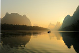 Sunrise at Li River, Xingping, Guilin, China. Xingping is a town in North Guangxi, China. It is 27 kilometers upstream from Yangshuo on the Li River
