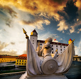 Traditional sculptural group of Bratislava castle at sunset