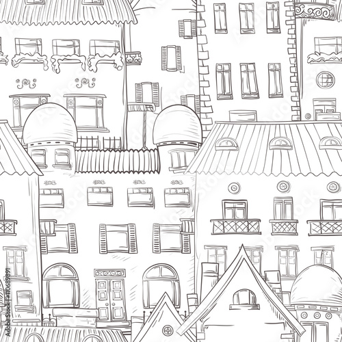 Seamless pattern of hand-painted homes. - 110689891