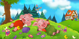 Cartoon scene of pigs resting on the hill - one is working - illustration for children