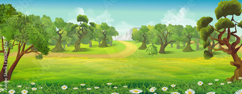 Foto op Canvas Pistache Meadow and forest nature landscape, vector background