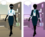 Businesswoman silhouette in office interior